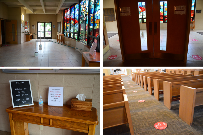 social distancing signs in the chapel