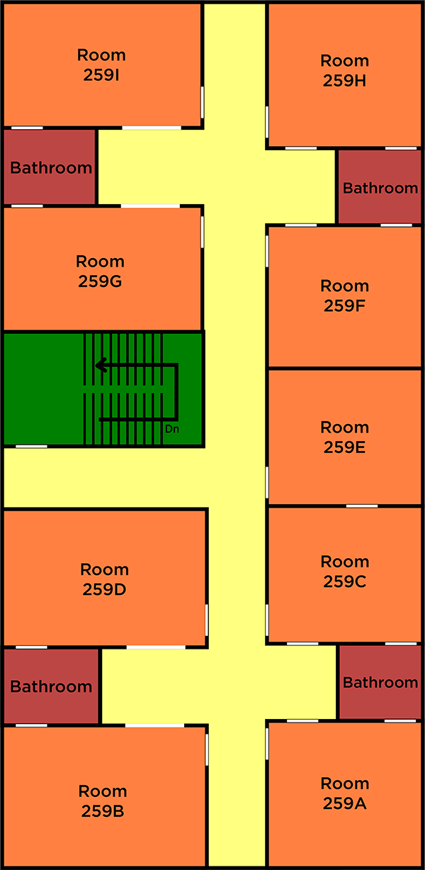 floorplan for the nine-person apartment
